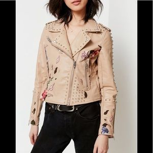 BLANKNYC Studded Embroiderd Moto Jacket
